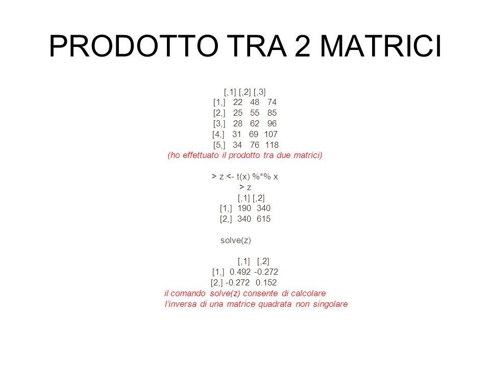 PRODOTTO TRA 2 MATRICI [,1] [,2] [,3] [1,] 22 48 74 [2,] 25 55 85